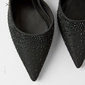 NWT Zara Black Jeweled Pointed Toe Kitten Heels